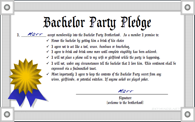 Bachelor Party pledge