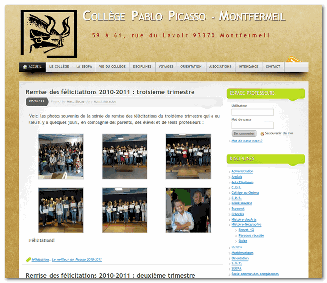 Webdesign : le site du collège Pablo Picasso photo