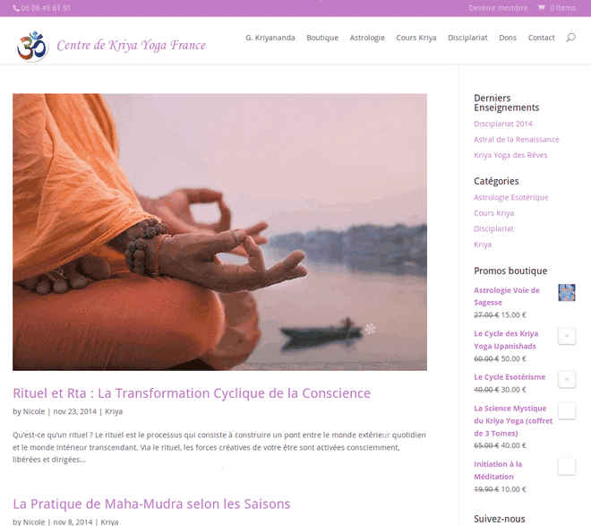 Mise à jour du site du Centre de Kriya Yoga France : v4.0 photo