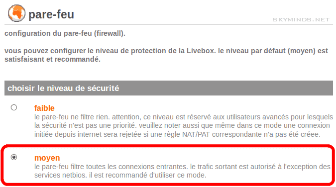 livebox firewall medium Serveur dédié : impossible de se connecter à un port distant