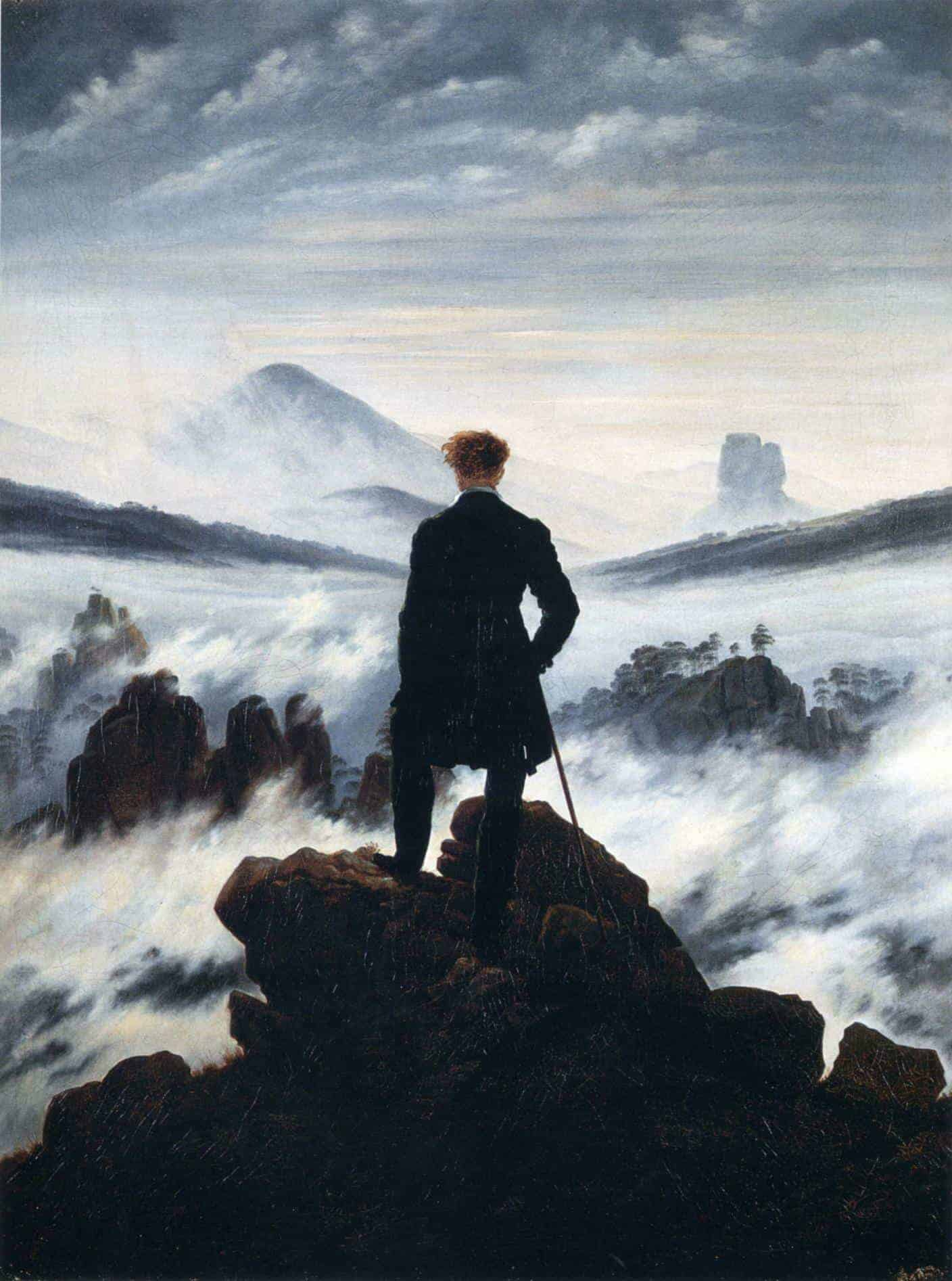 Wanderer above the Sea of Fog, oil painting by Caspar David Friedrich, 1818.