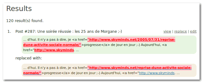 search regex replace permalinks results