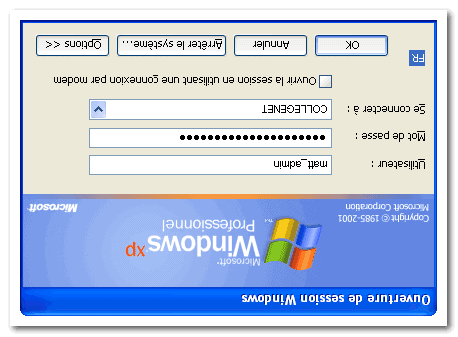 windows session box dialog reversed