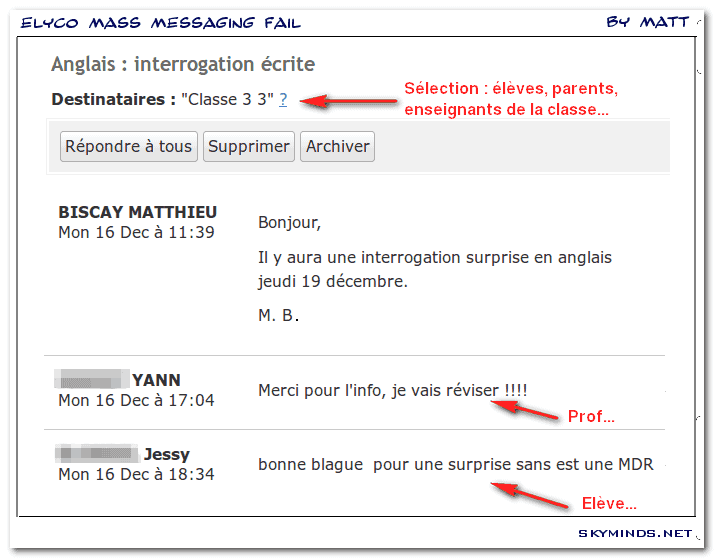 Dialogues with Mister B. : e-lyco mass-messaging fail photo